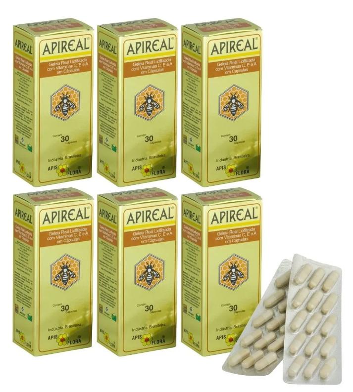 Apireal Geleia Real Liofilizada 30 Cáps Apisflora Kit 6 Unidades
