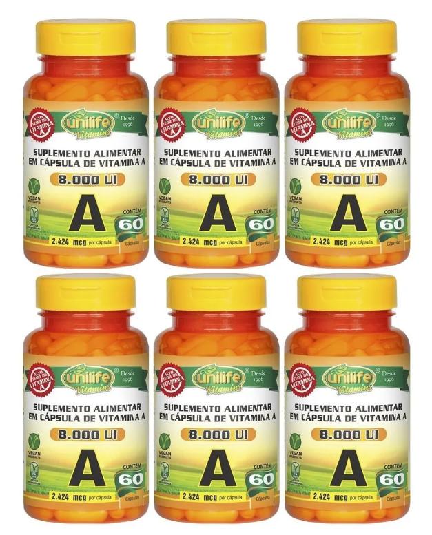 Vitamina A Retinol 8000ui 60 Cápsulas Unilife Kit 6 Unidades